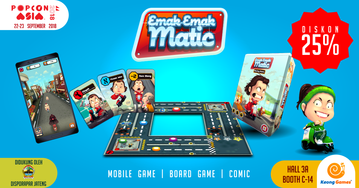 Diskon 25% Emak Matic Board Game di PopCon Asia 2018